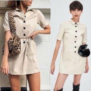 NWT Zara Size L Faux Leather Cream Mini Dress